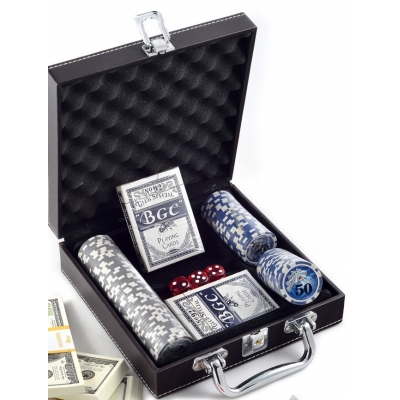 Покер, набор, 100 фишек, номинал, кожа
