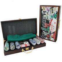 Покер, набор, 300 фишек, номинал, дерево