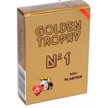 """Карты для покера """"Modiano Golden Trophy"""" 100% пластик, Италия, красная рубашка"""