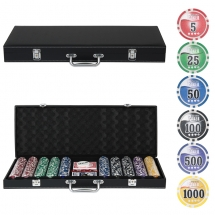 Набор для покера Leather Black на 500 фишек