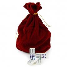 Домино с цветными точками в красном бархатном мешочке (12 точек)
